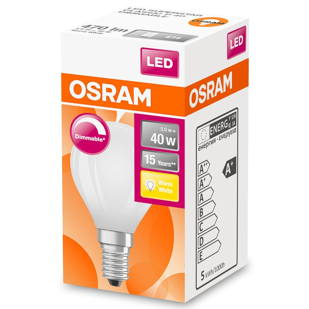 Osram 40W Frosted Globe Filament SES Bulb - Warm White