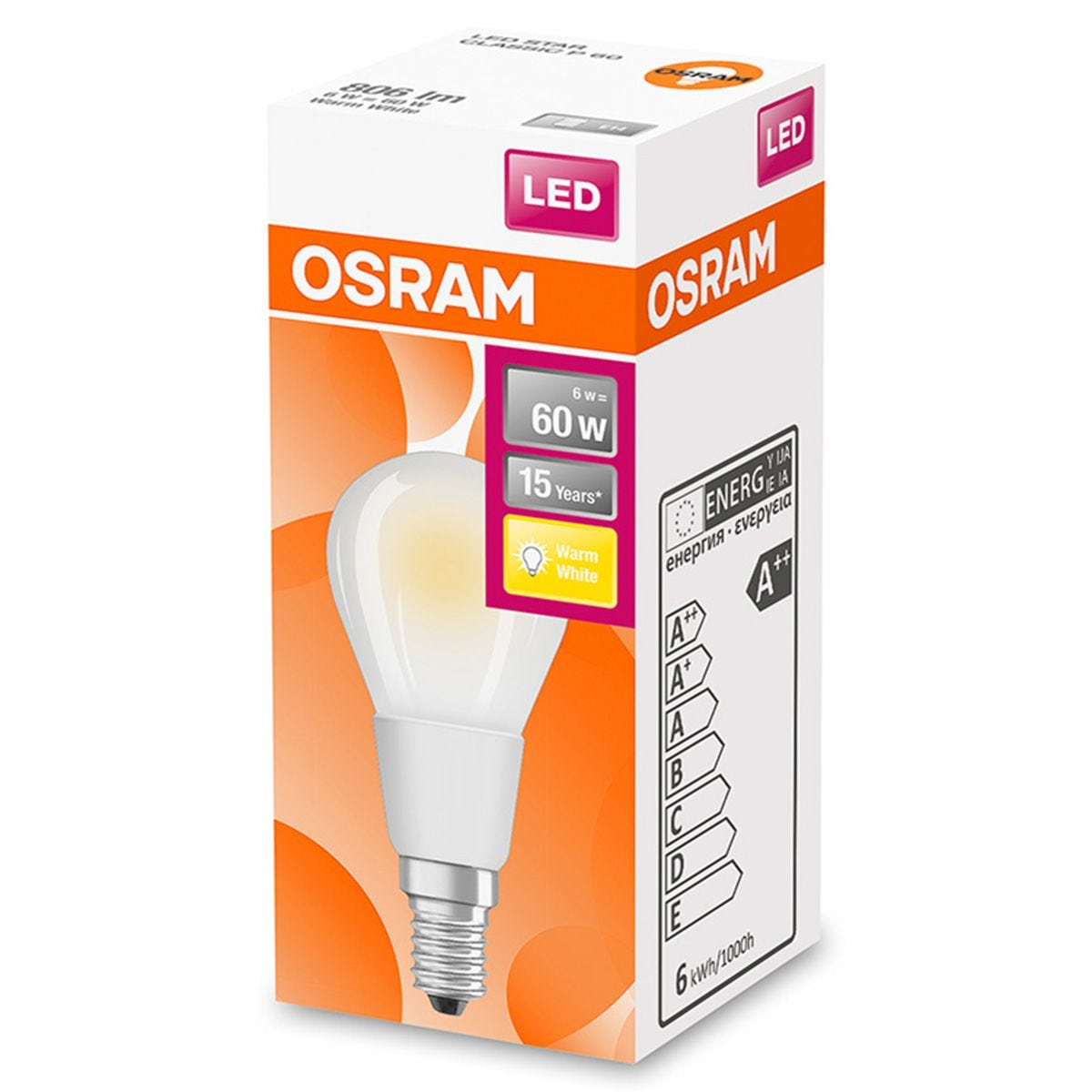 Osram Globe 60W Frosted Filament Warm White SES Bulb
