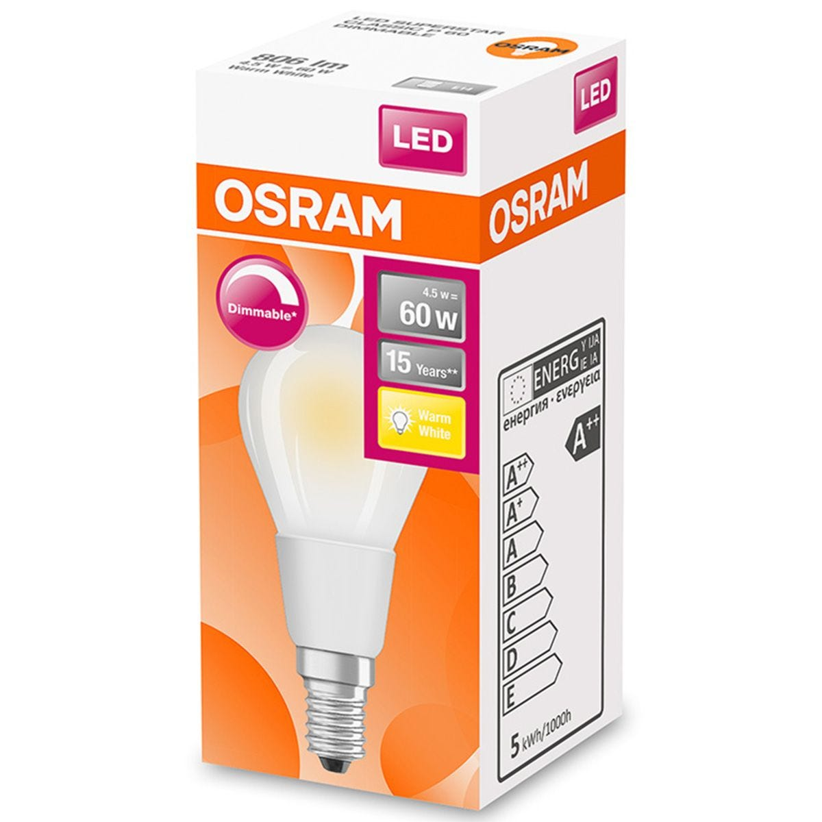 Osram Globe 60W Frosted Filament Warm White Dimmable SES Bulb