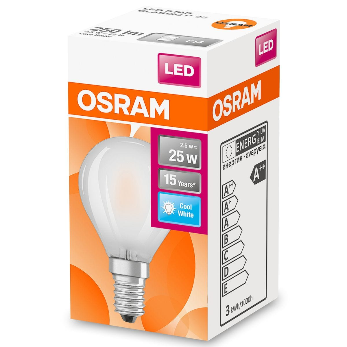 Osram Globe 25W Frosted Filament SES Bulb - Cool White