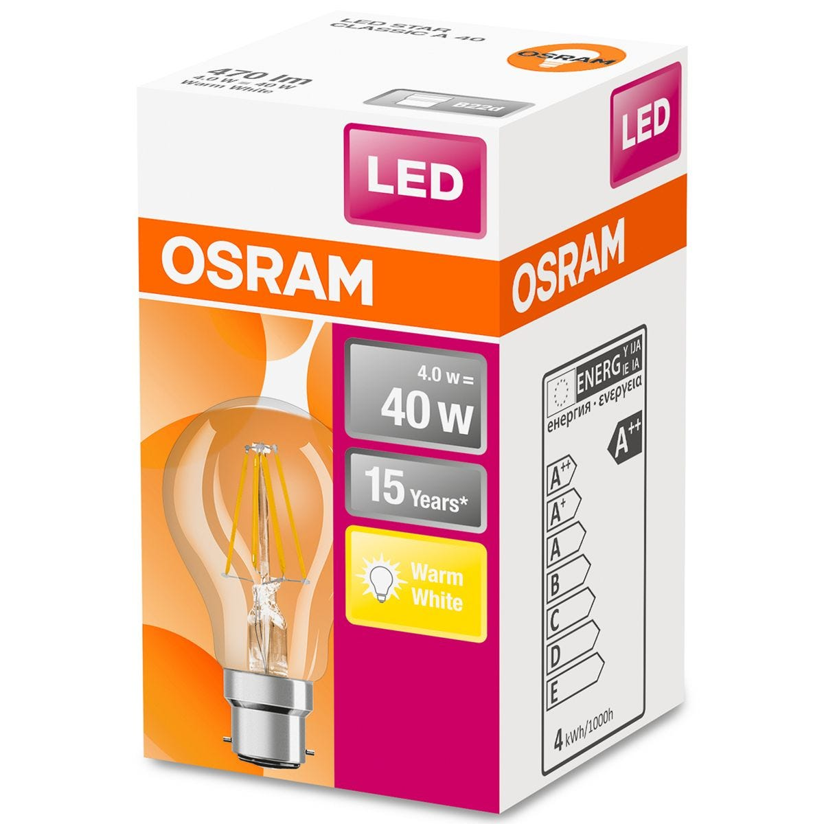 Osram Classic A 40W LED Filament Clear BC Bulb - Warm White