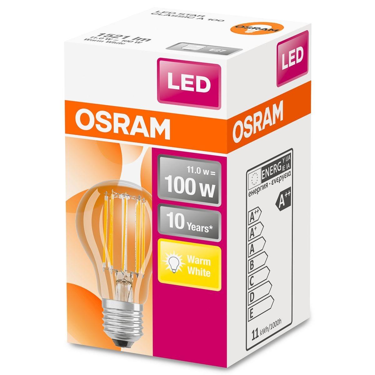 Osram Classic A 100W LED Filament Clear ES Bulb - Warm White