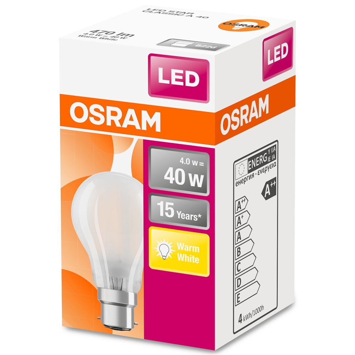 Osram Classic A 40W LED Filament Frosted BC Bulb - Warm White