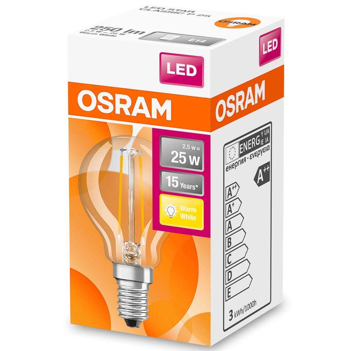 Osram Globe 25W LED Filament Clear SES Bulb