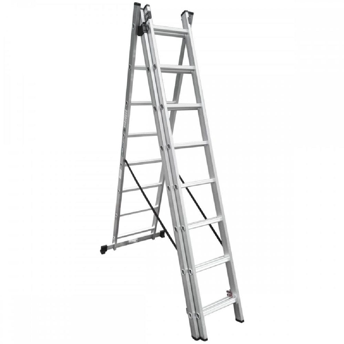 Charles Bentley 3 Section 3 Way Combination Ladder - 3X8 Rung Aluminium