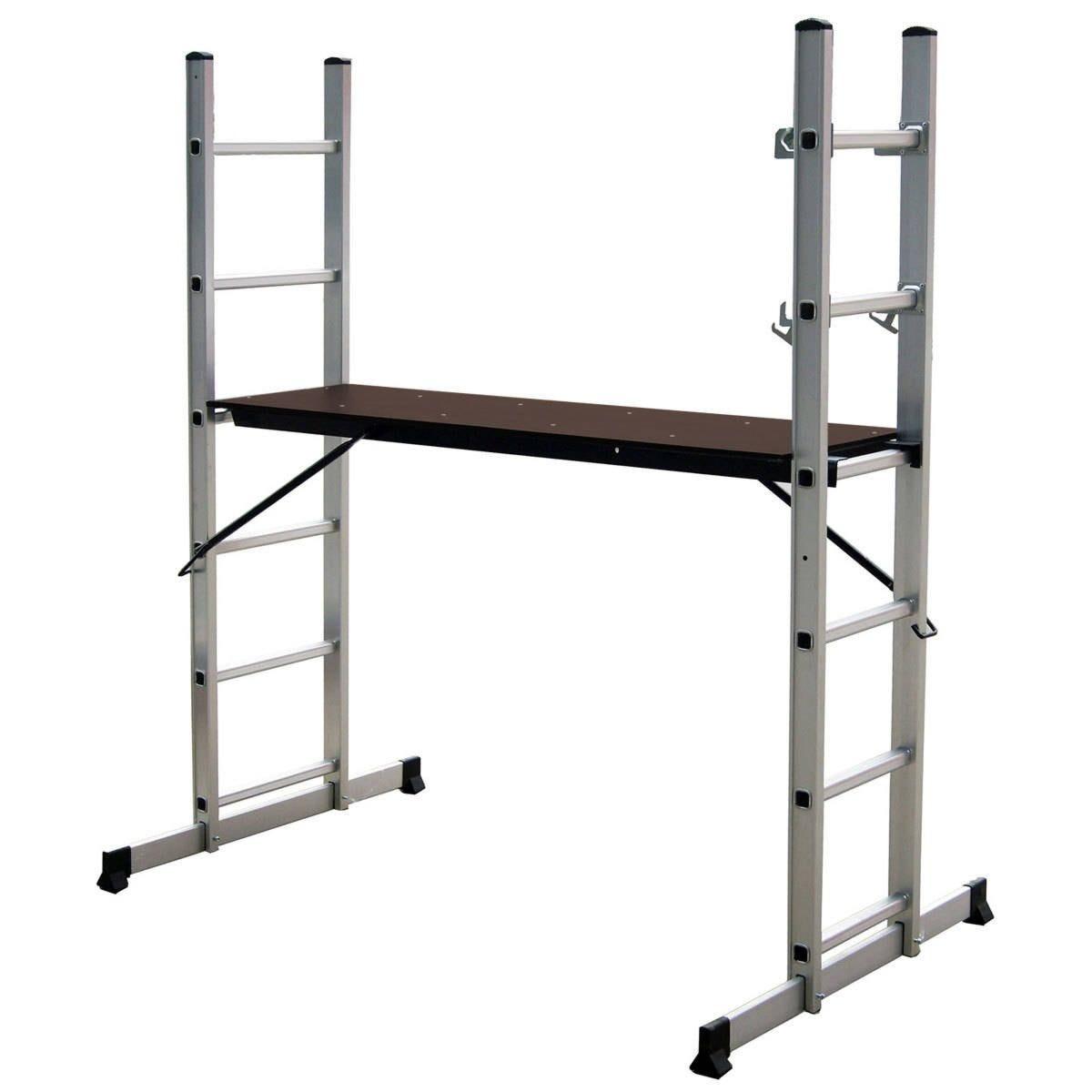 Charles Bentley 5 Way Aluminium Multi Purpose Scaffolding Ladder with Working Platform