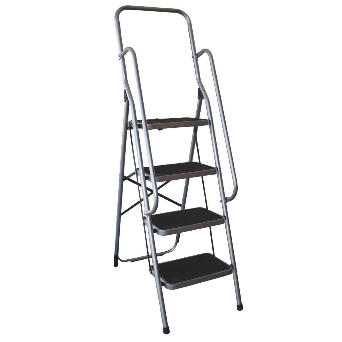 Charles Bentley 4 Step Folding Ladder With Safety Handrail