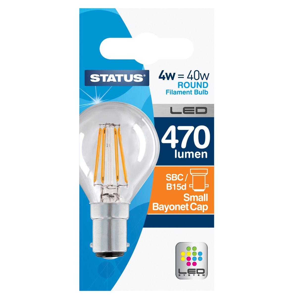 Status 4W=40W 470 lumens Filament LED Clear Round Bulb with Small Bayonet Cap - Warm White