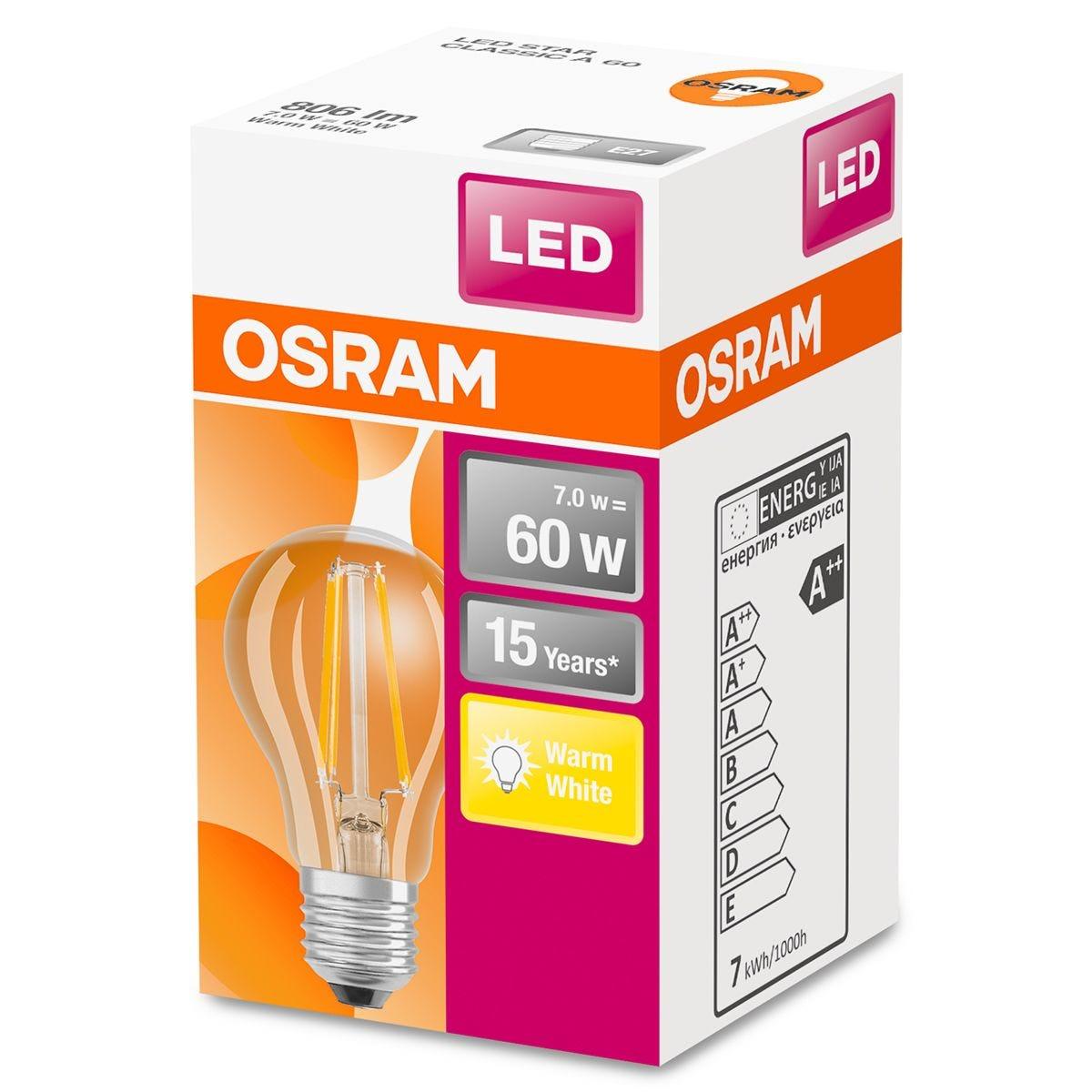 Osram 60W Classic A Filament ES LED Bulb - Warm White