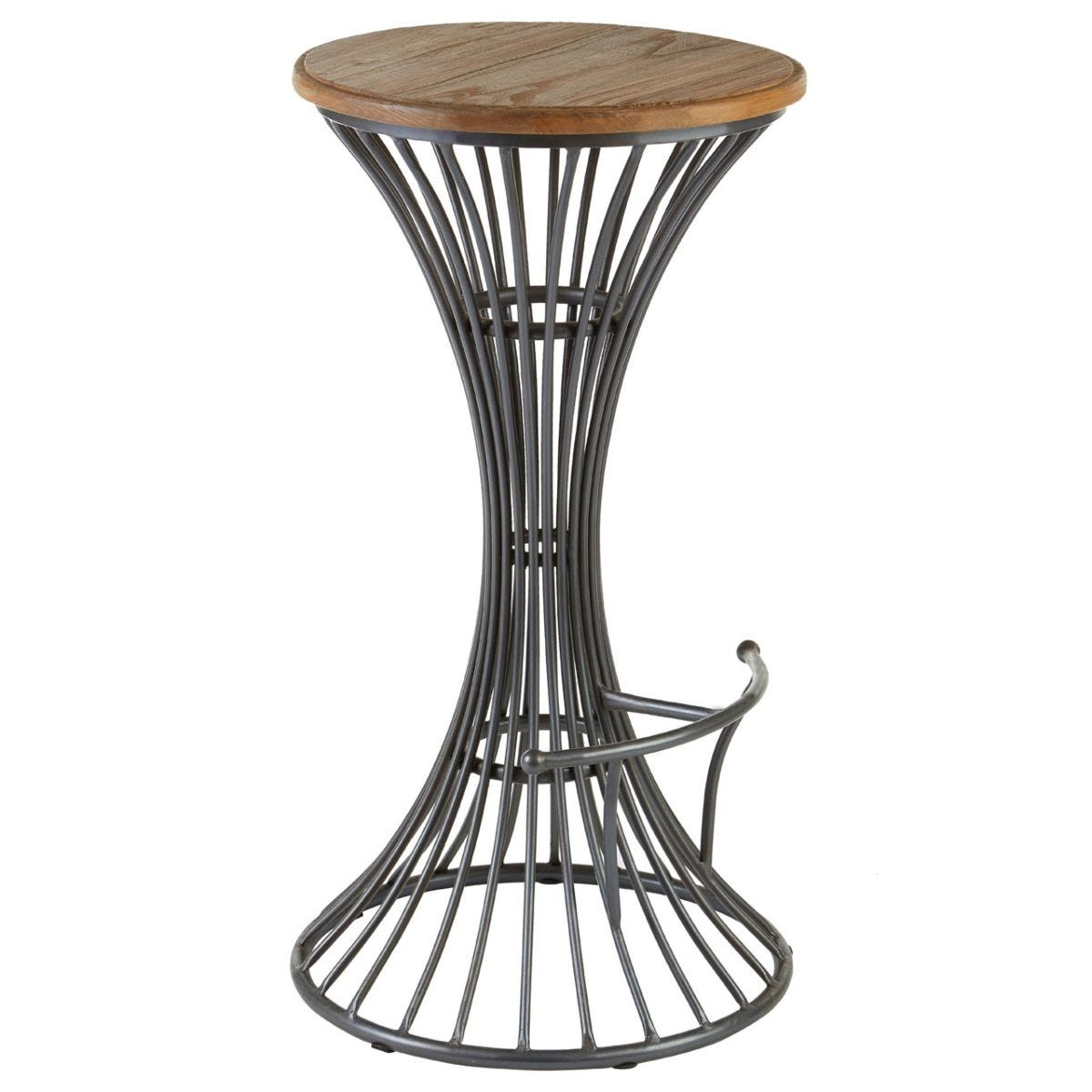 New Foundry Elm Wood Bar Stool