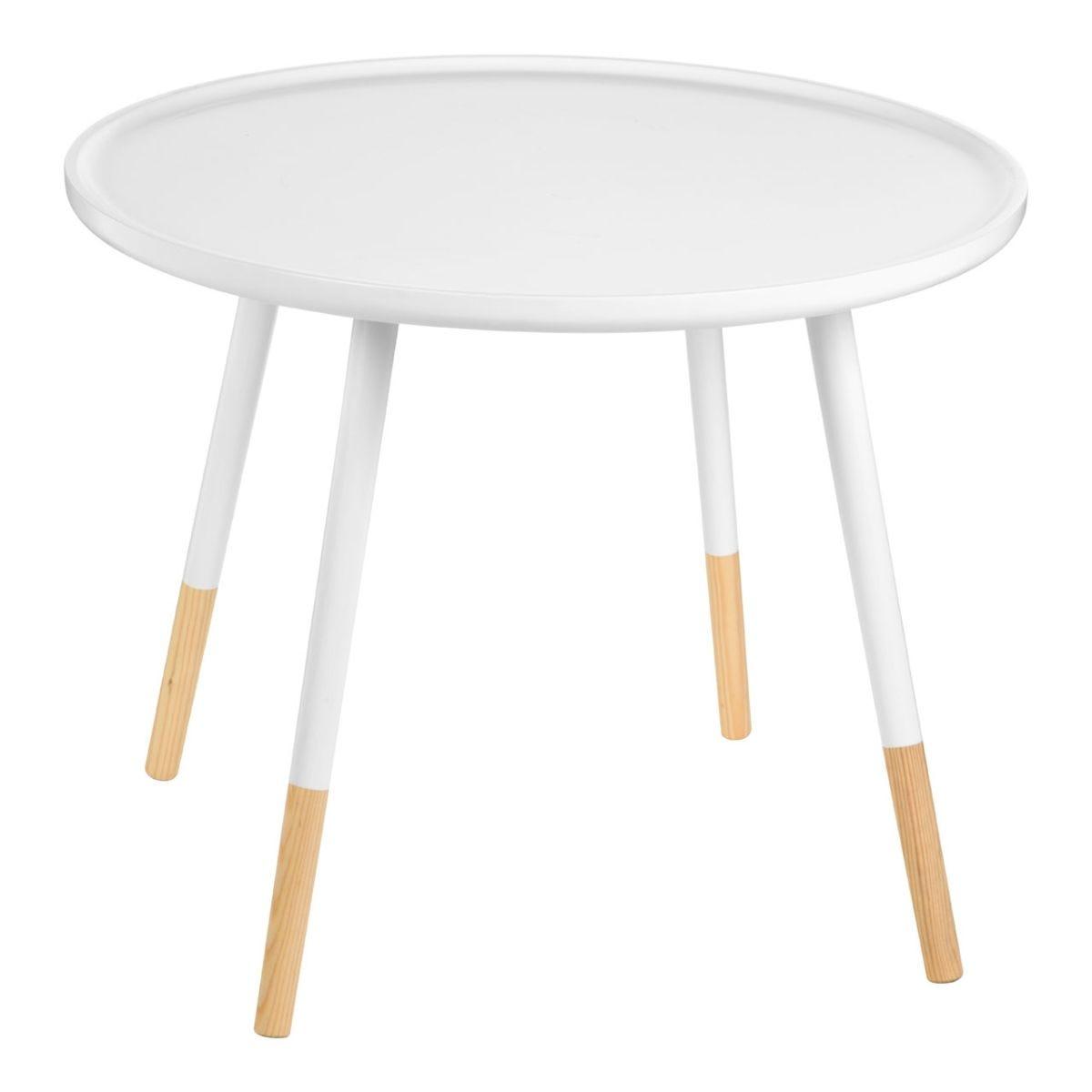 Viborg Large Round Side MDF Table - White