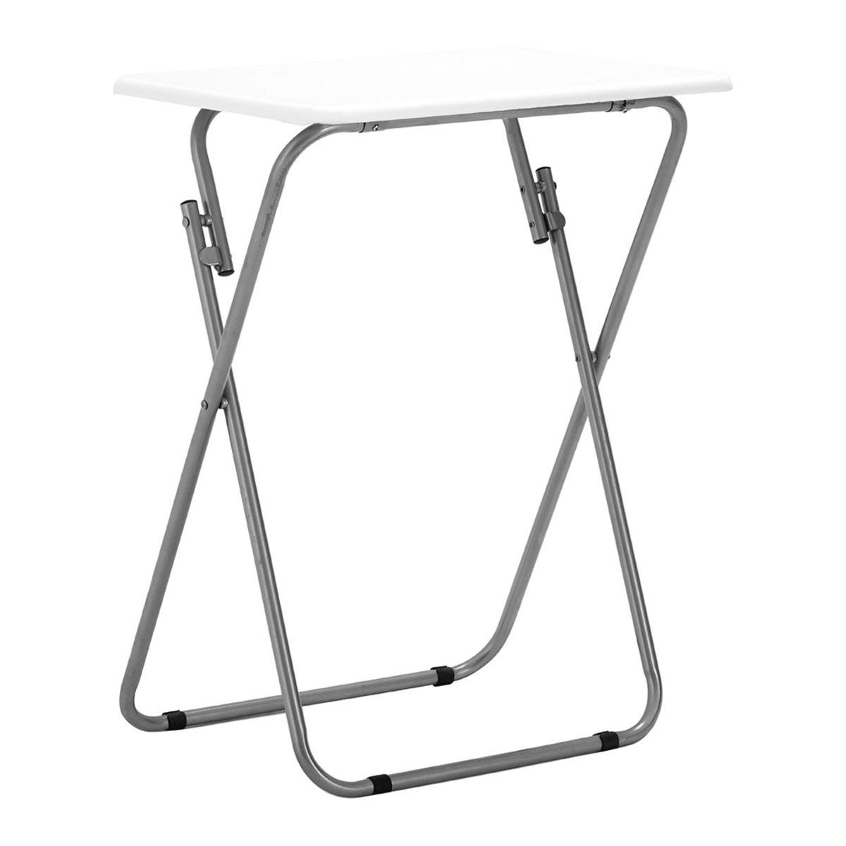 Premier Housewares Folding Table - White Gloss Top with Silver Finish Frame