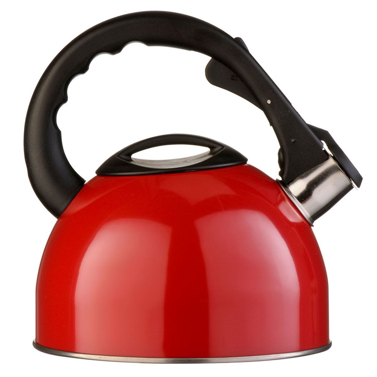 Premier Housewares 2.5L Stainless Steel Whistling Kettle - Red