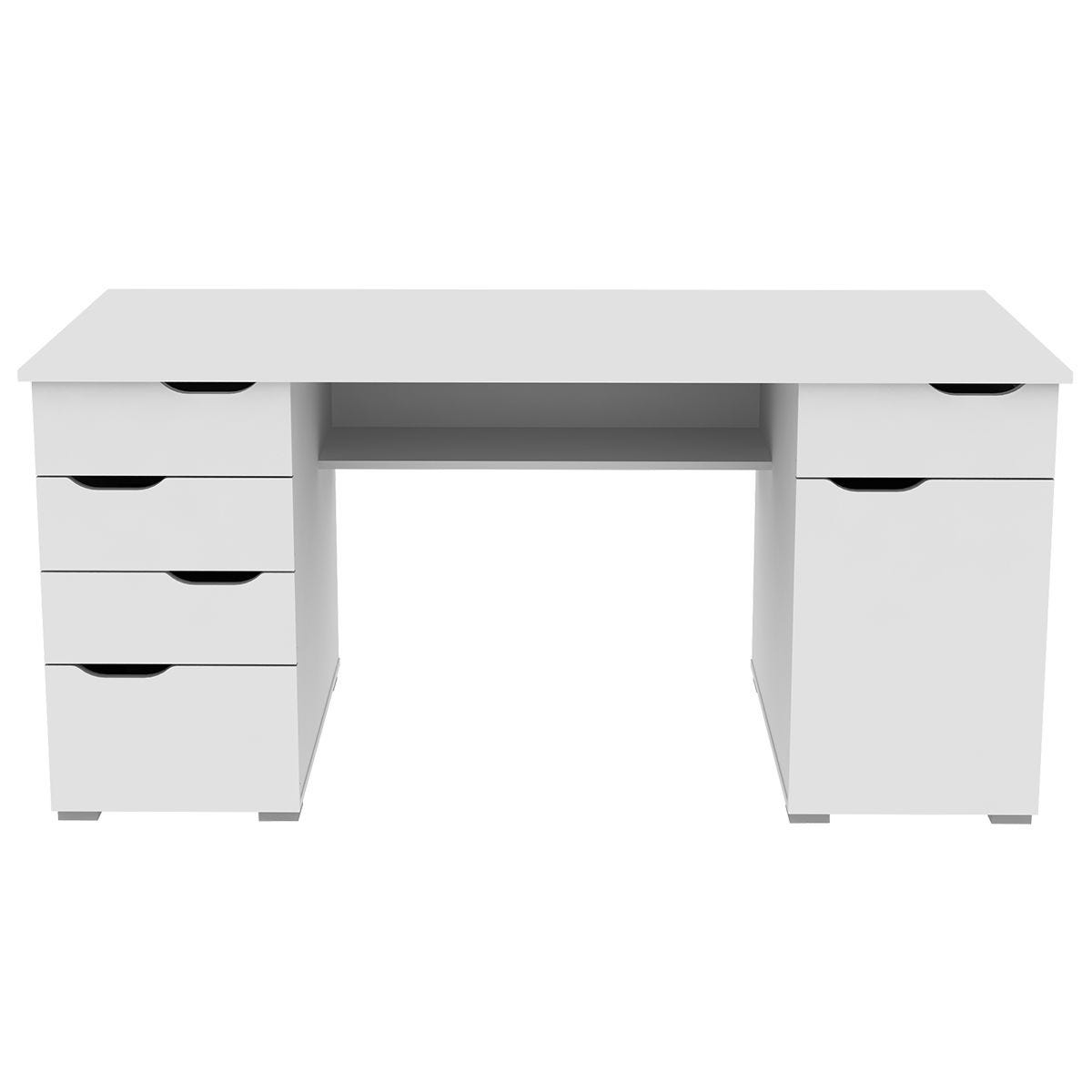 Alphason Kentucky White Desk with White Gloss Drawer Fronts