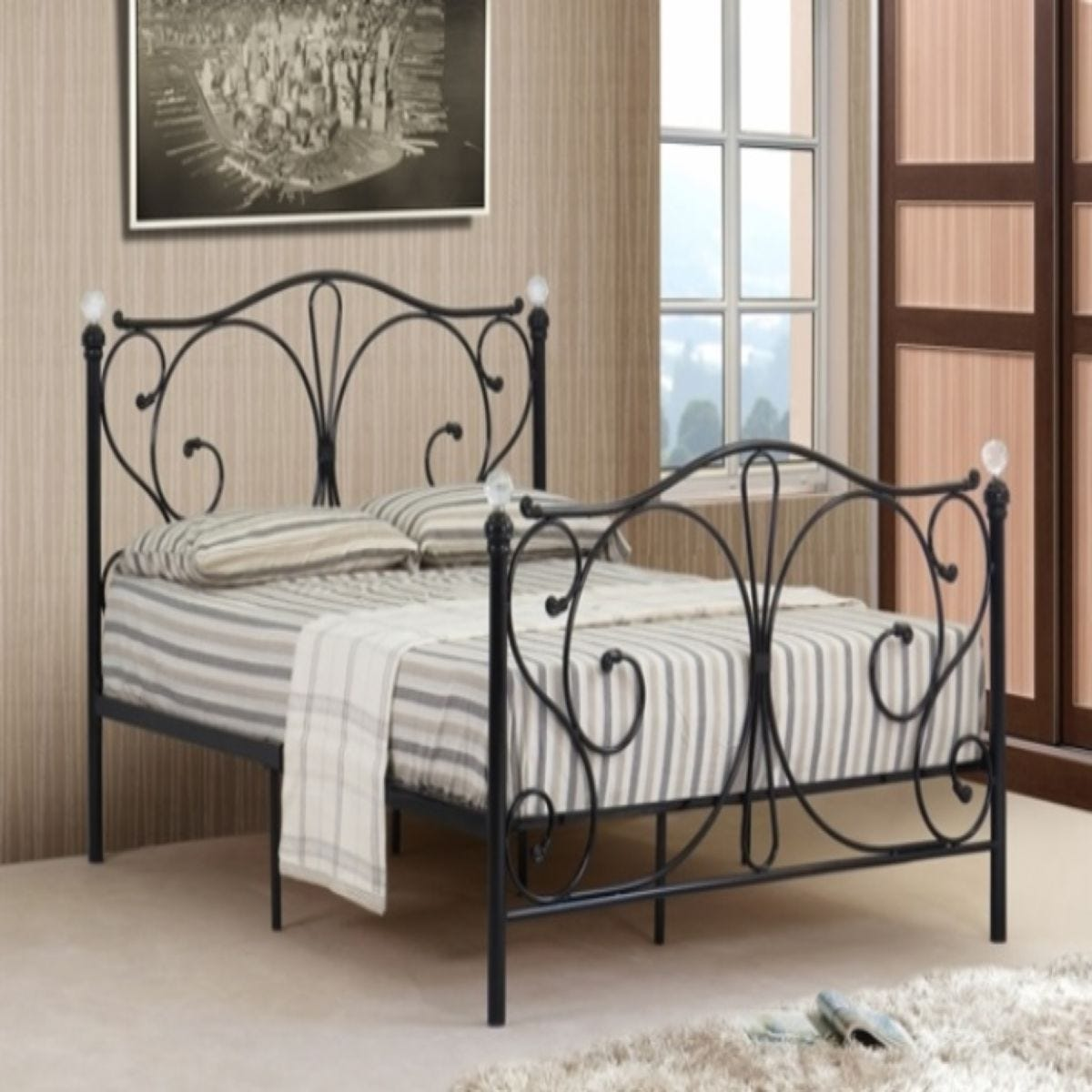 Isabelle Metal Double Bed Frame With Crystal Finials - Black