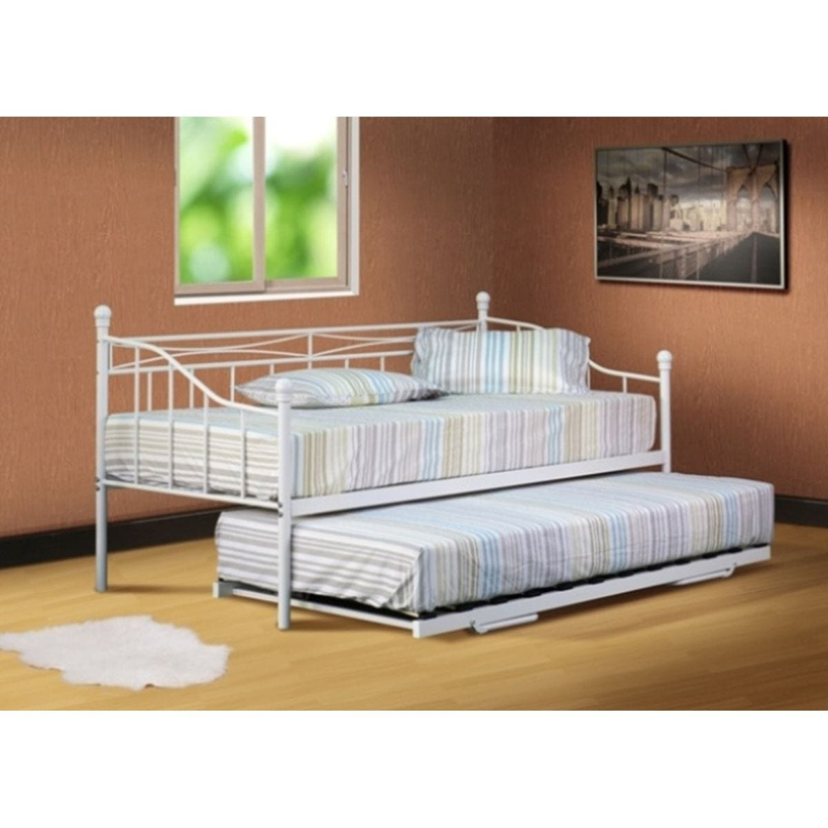 Alicia Budget Metal Day Bed Without Trundle White