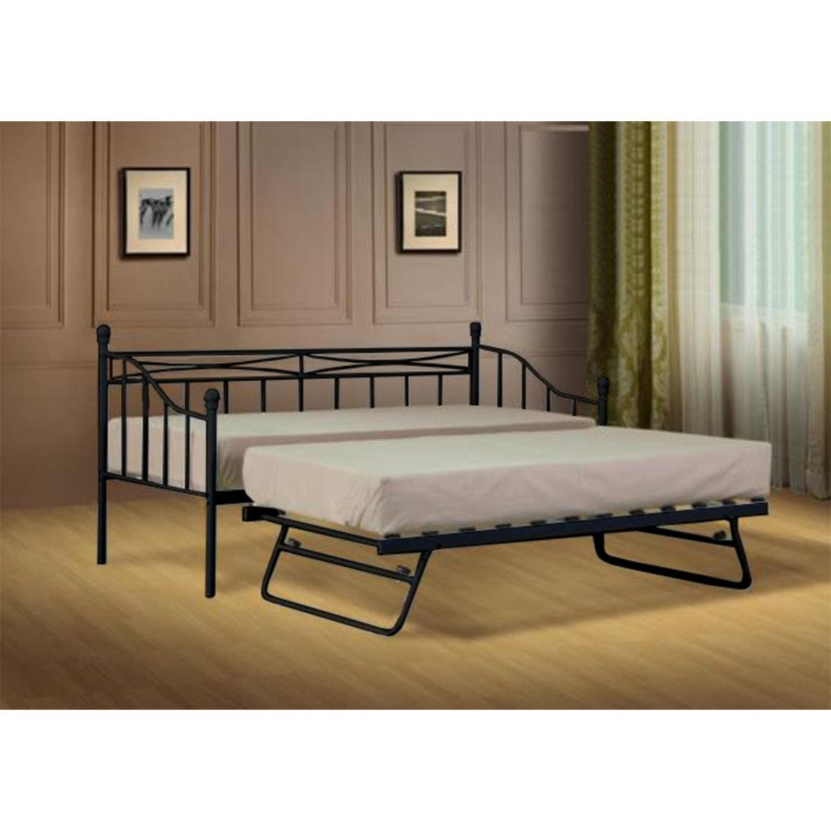 Alicia Budget Metal Day Bed Without Trundle Black