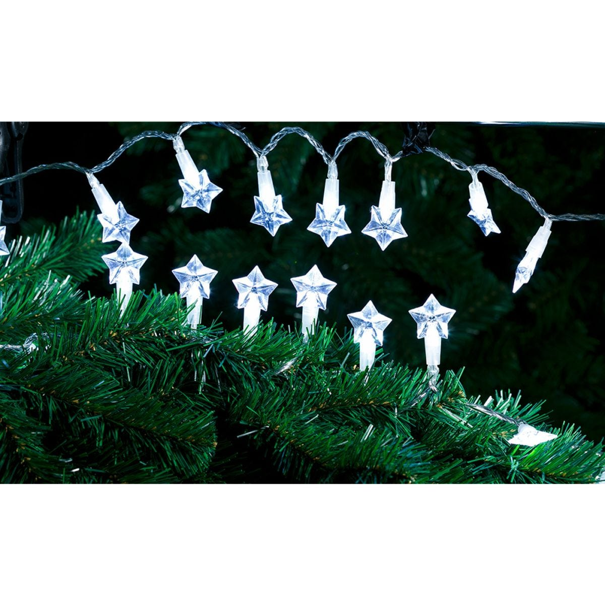 Robert Dyas Battery Operated 20 LED Star String Lights - Ice White