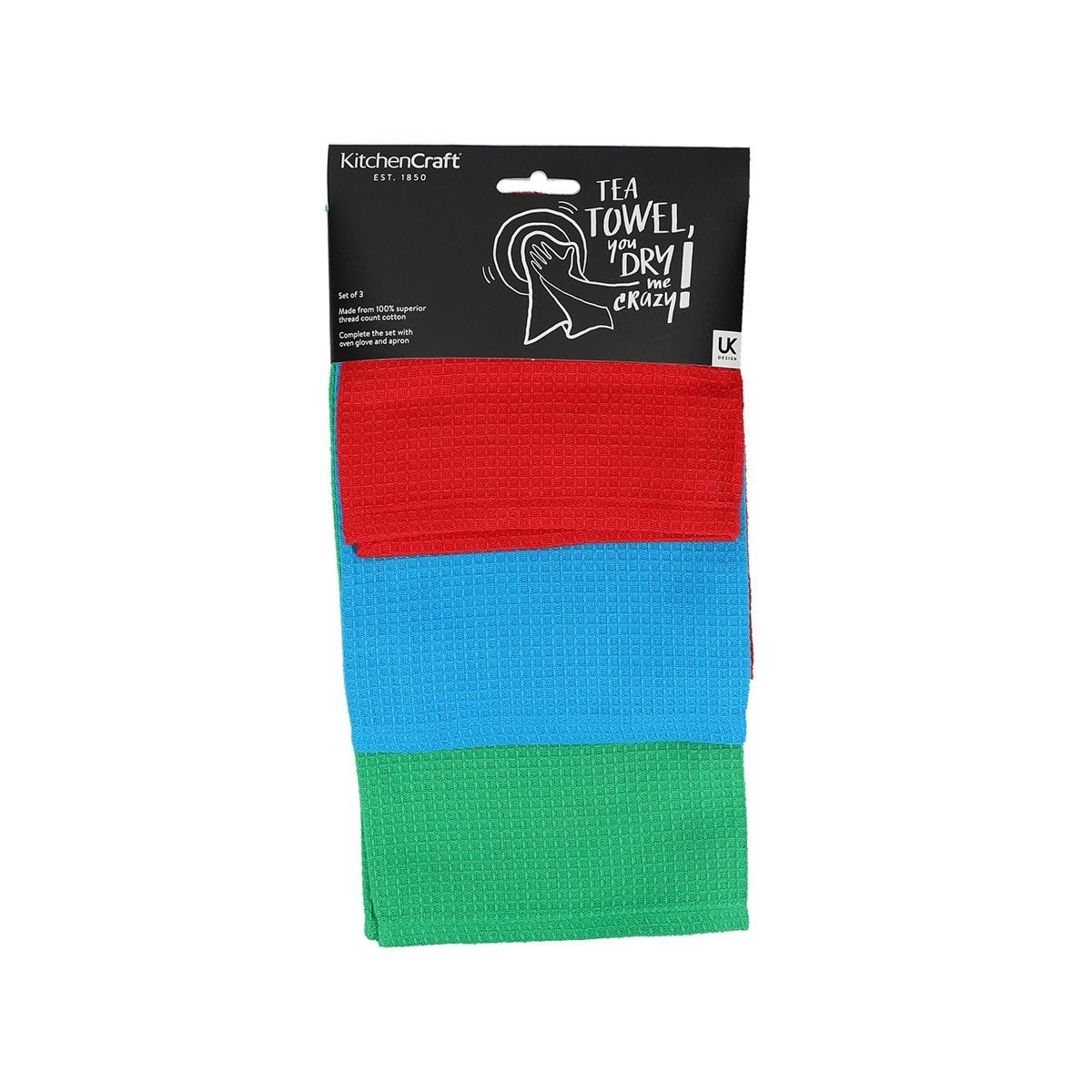 KitchenCraft Set of Three Waffle Tea Towels - Green/Red/Blue