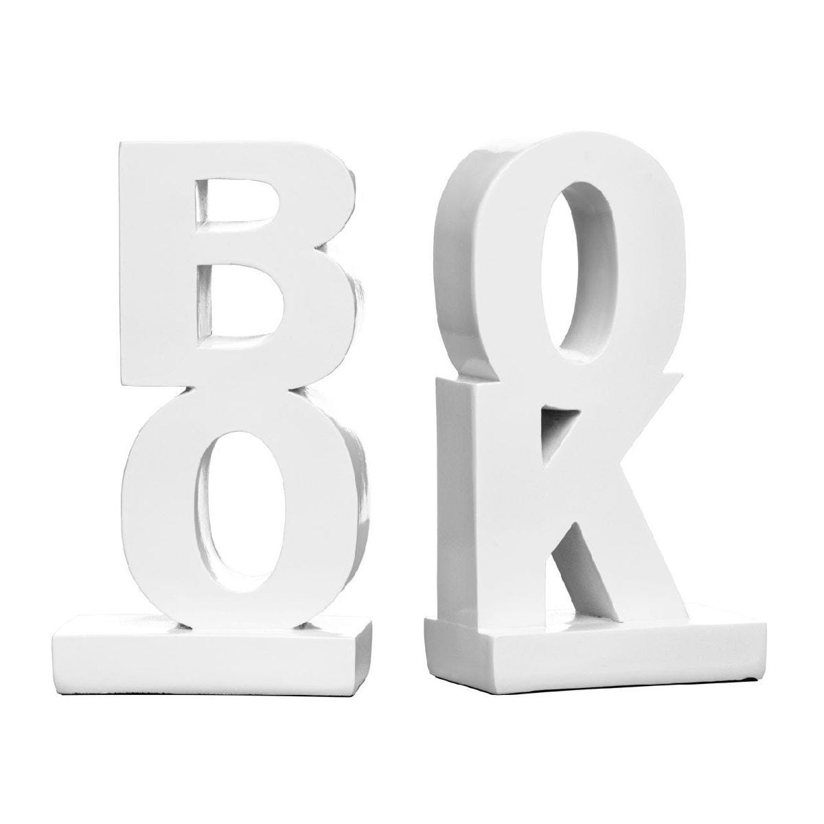 Premier Housewares  'Book' Bookends Set of 2 - Polyresin White High Gloss
