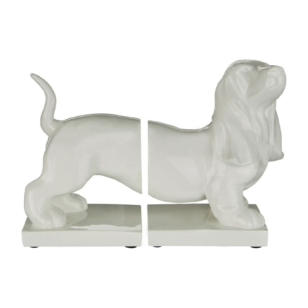 Premier Housewares Set of Dog Bookends - White High Gloss Finish Polyresin