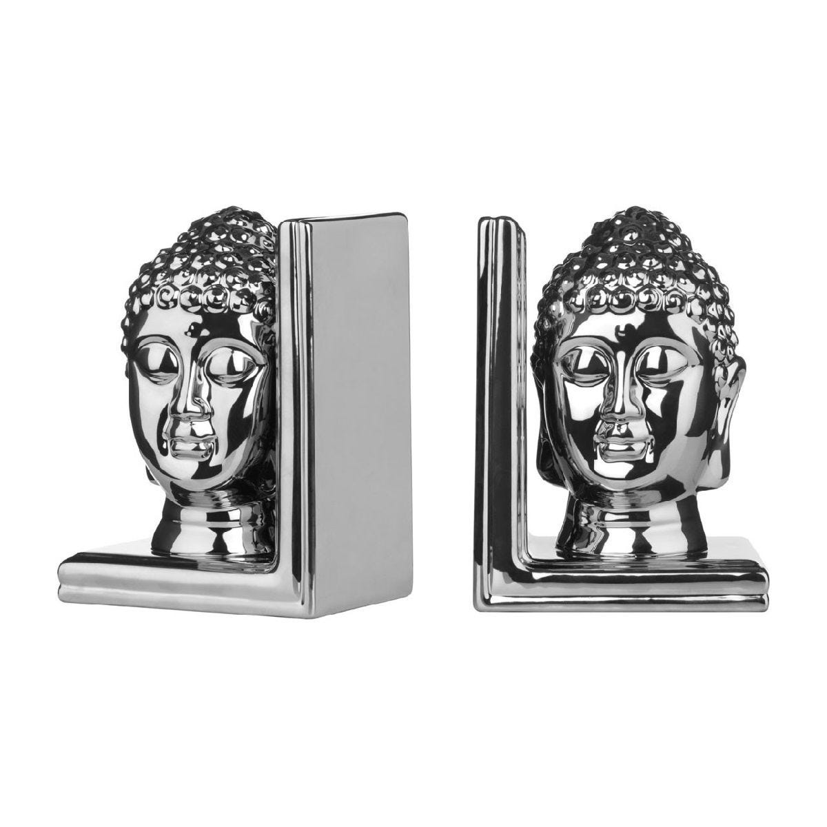 Premier Housewares Buddha Head Set of 2 Bookends - Silver Dolomite