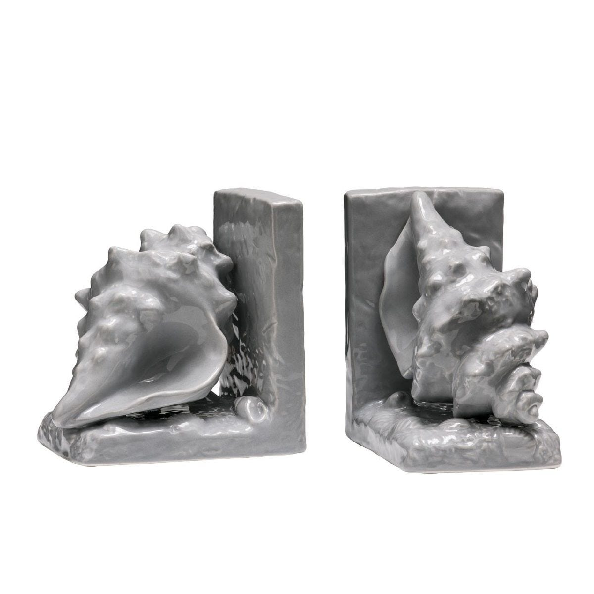 Premier Housewares Conch Set of 2 Bookends - Grey Dolomite