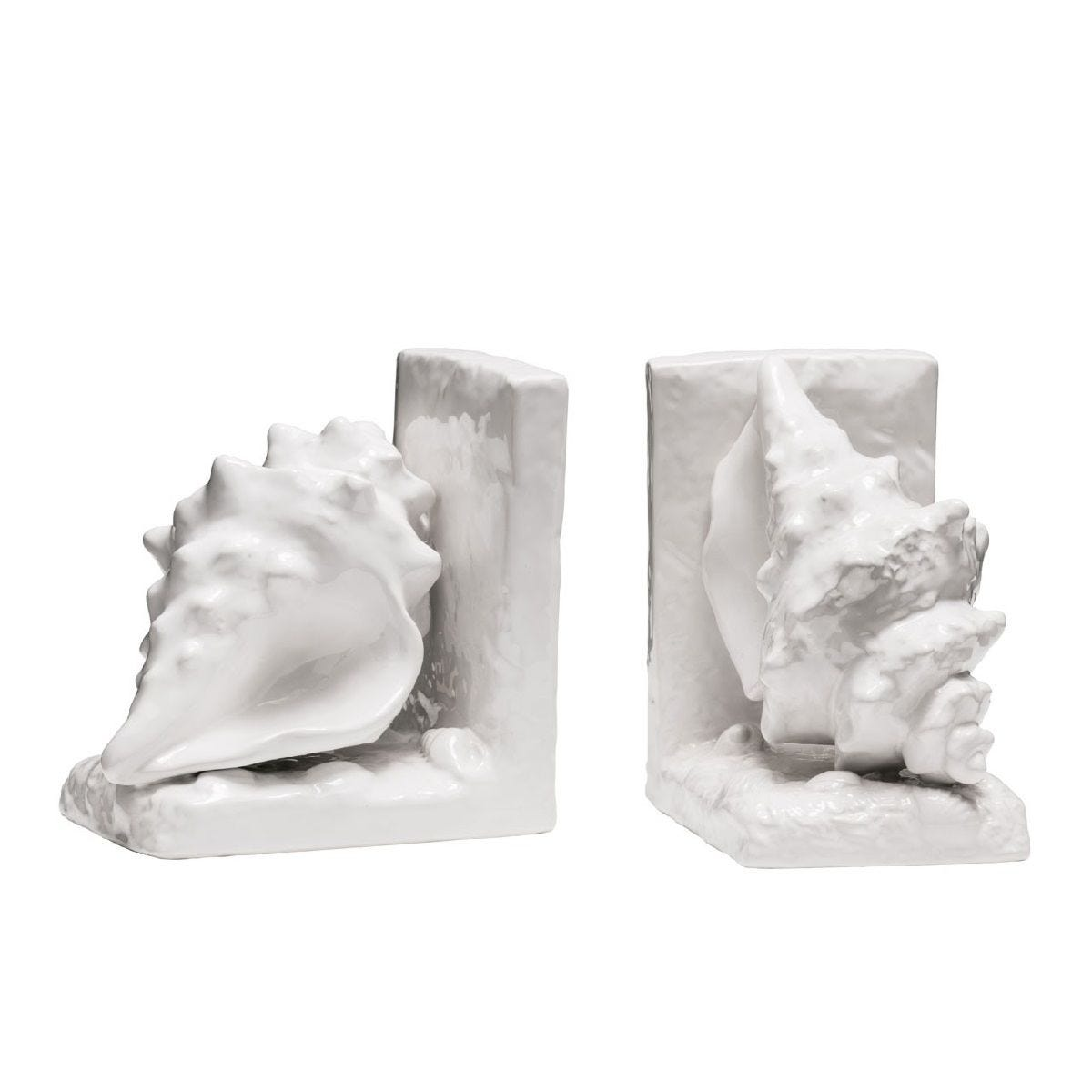 Premier Housewares Conch Set of 2 Bookends - White Dolomite