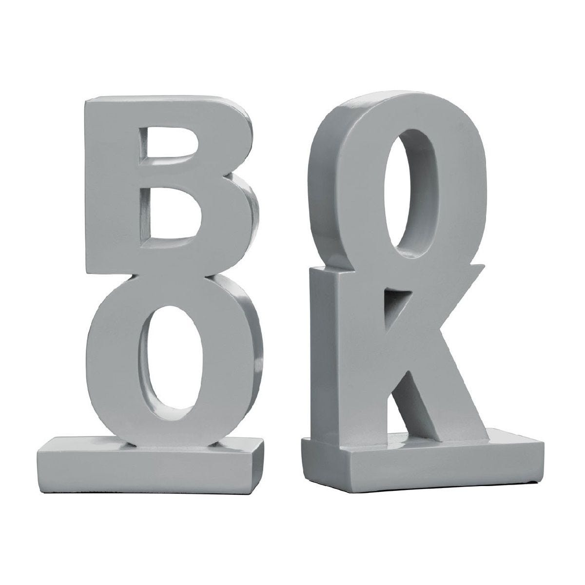 Premier Housewares 'Book' Bookends Set of 2 - Polyresin Grey High Gloss