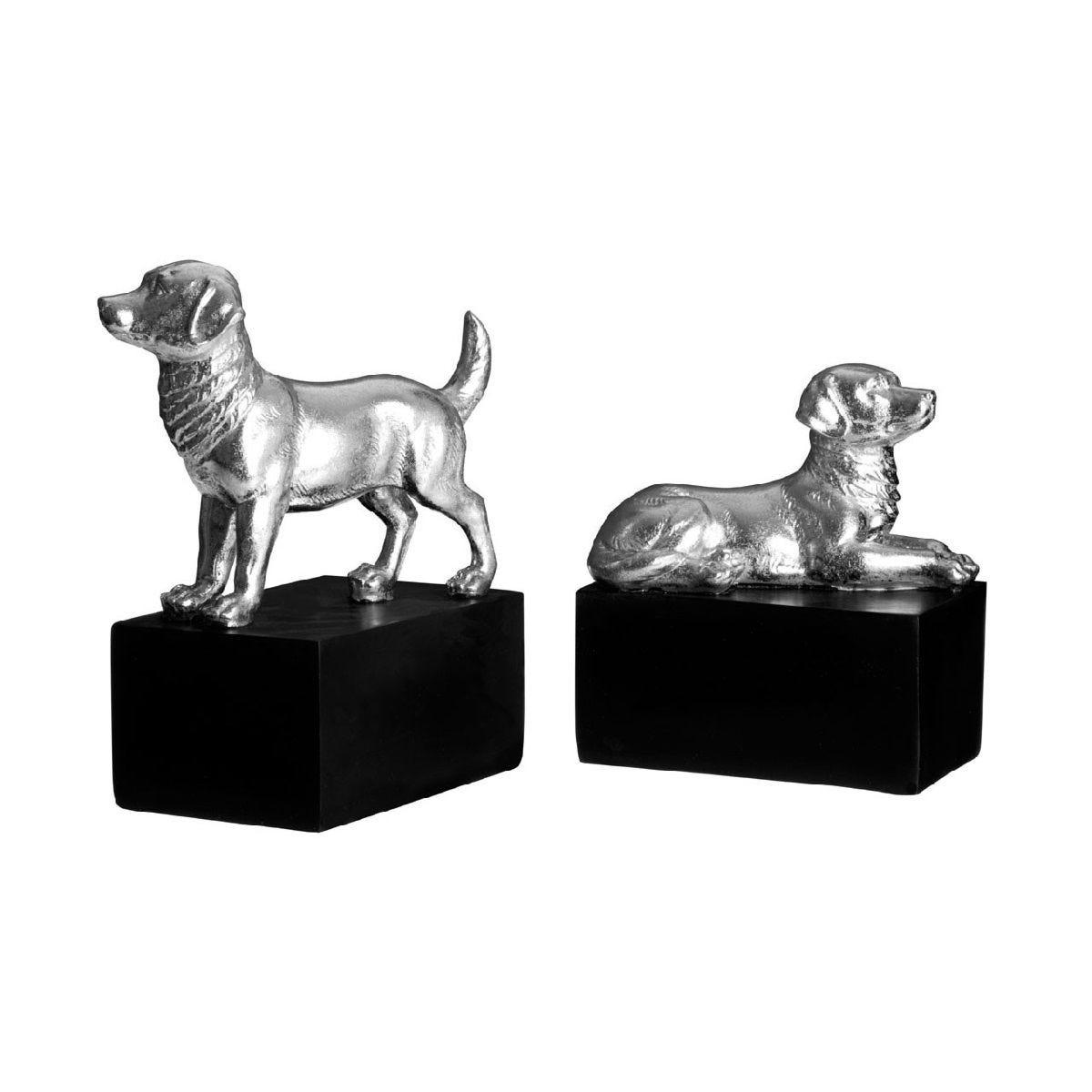 Premier Housewares Set of 2 Dog Bookends - Polyresin Silver/Black