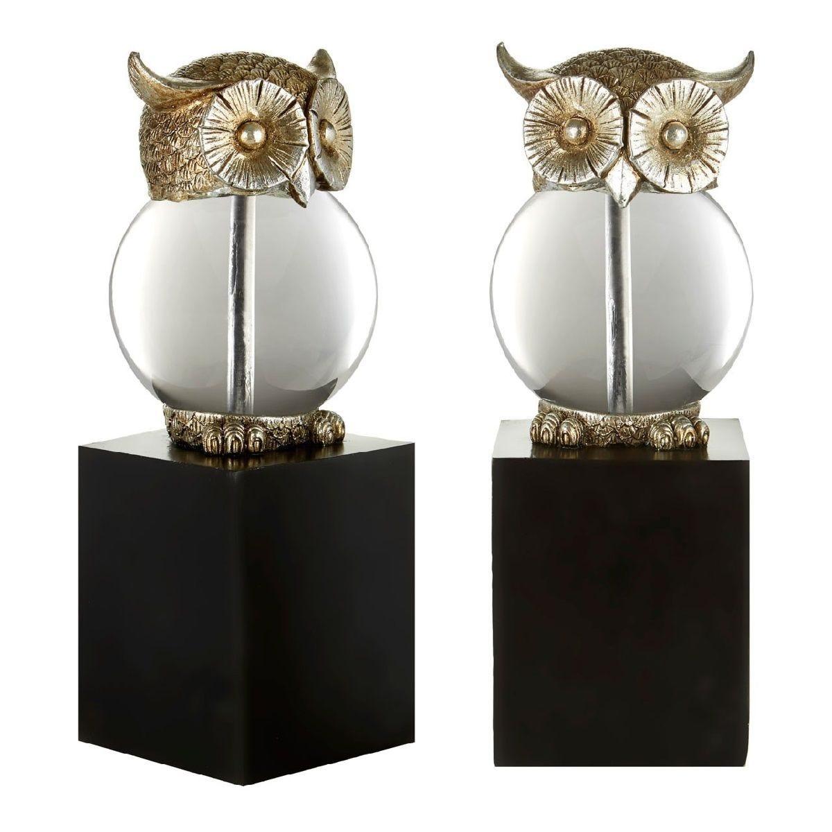 Premier Housewares Owl Bookends - Polyresin/Glass Antique Silver/Black