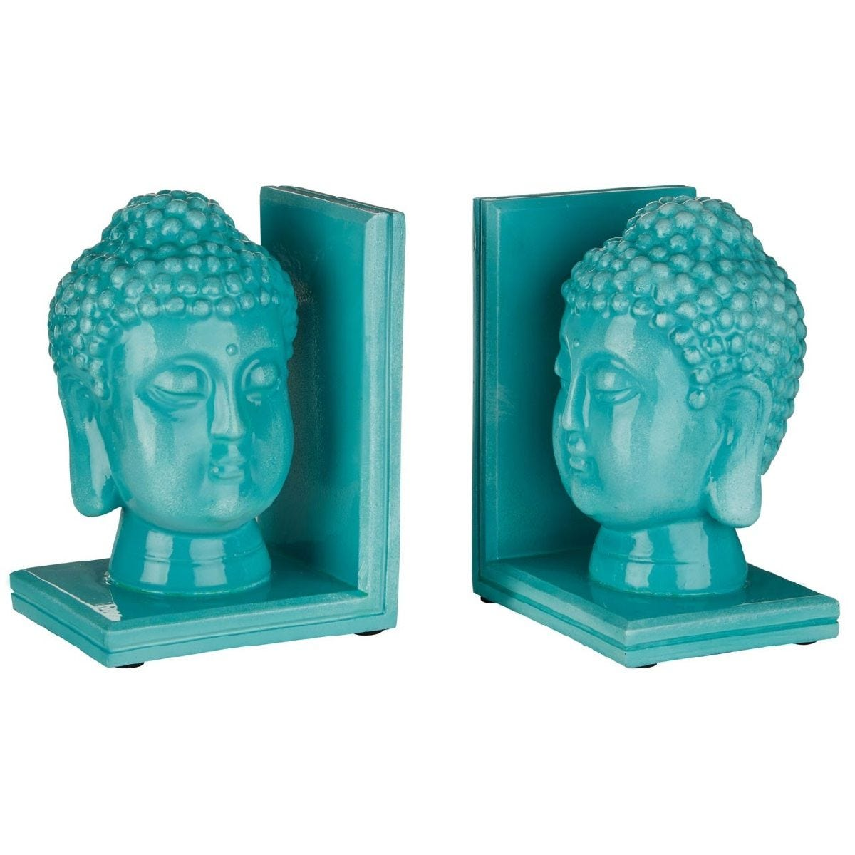 Premier Housewares Buddha Head Set of 2 Bookends - Polyresin Turquoise