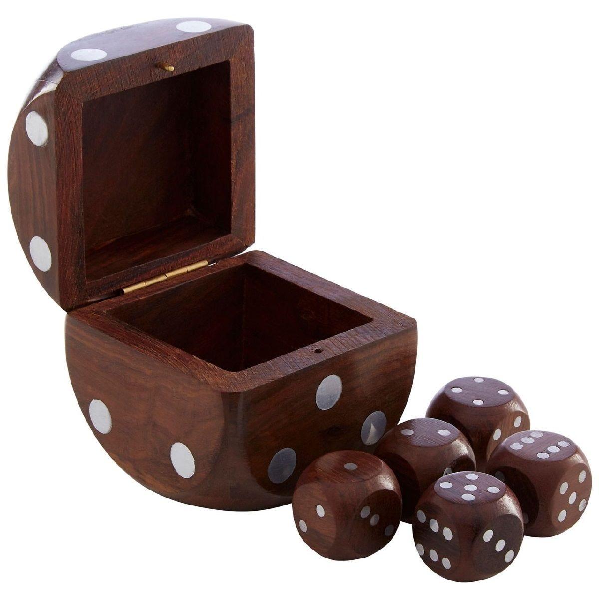 Premier Churchill Dice Box With 5 Dice - Sheesham Wood
