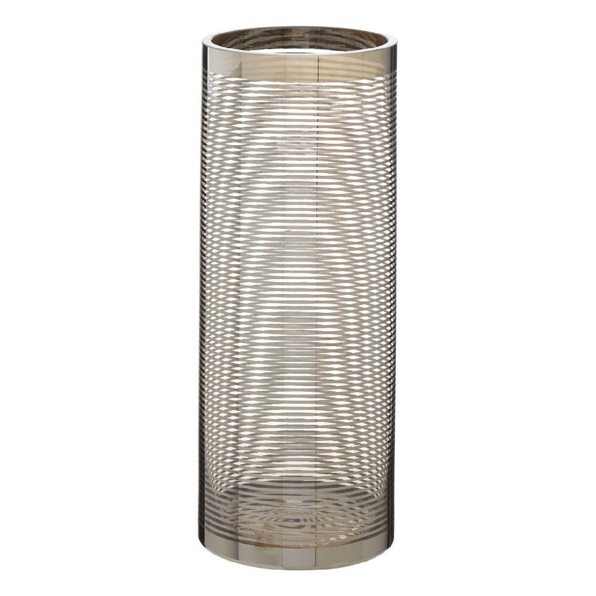 Premier Housewares Cylinder Glass Vase Nickel Stripe - Large