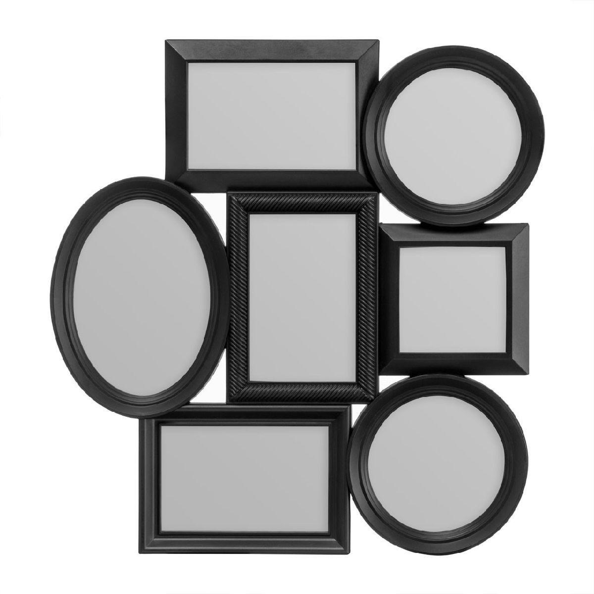 Premier Housewares Multi Photo Frame, 7 Photo in Black Plastic Frame - 1 Oval, 3 Rectangular, 2 Round,1 Square