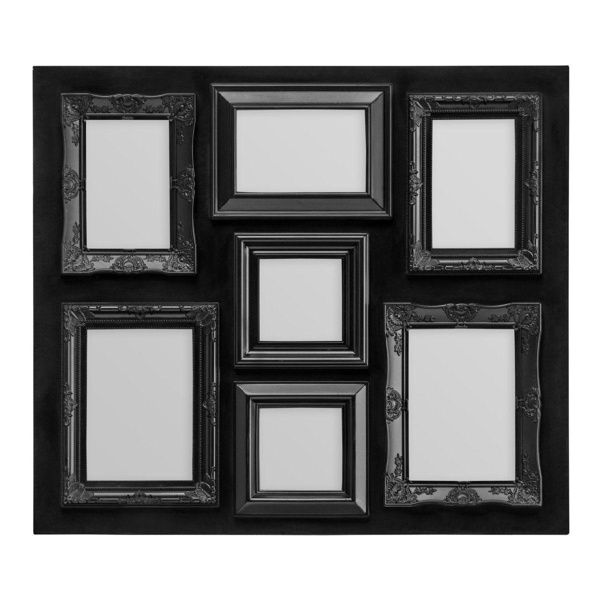 Premier Housewares Multi Photo Frame, 7 Photo Black Plastic Frame - 5 Rectangular, 1 Square