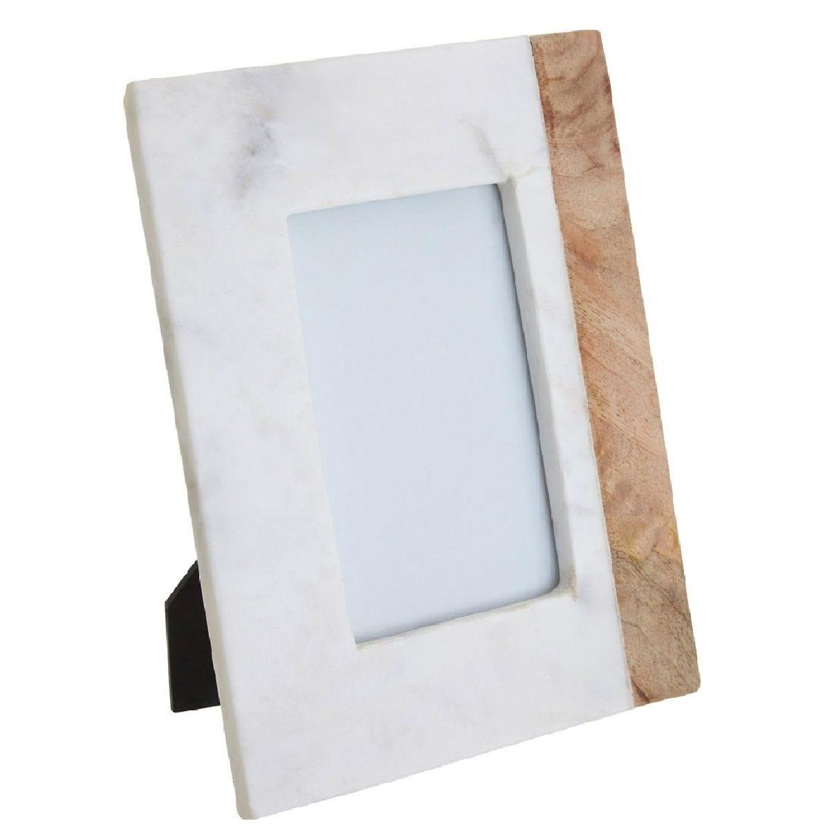 Premier Housewares Sena Photo Frame (4In X 6In) - White Marble Mango Wood