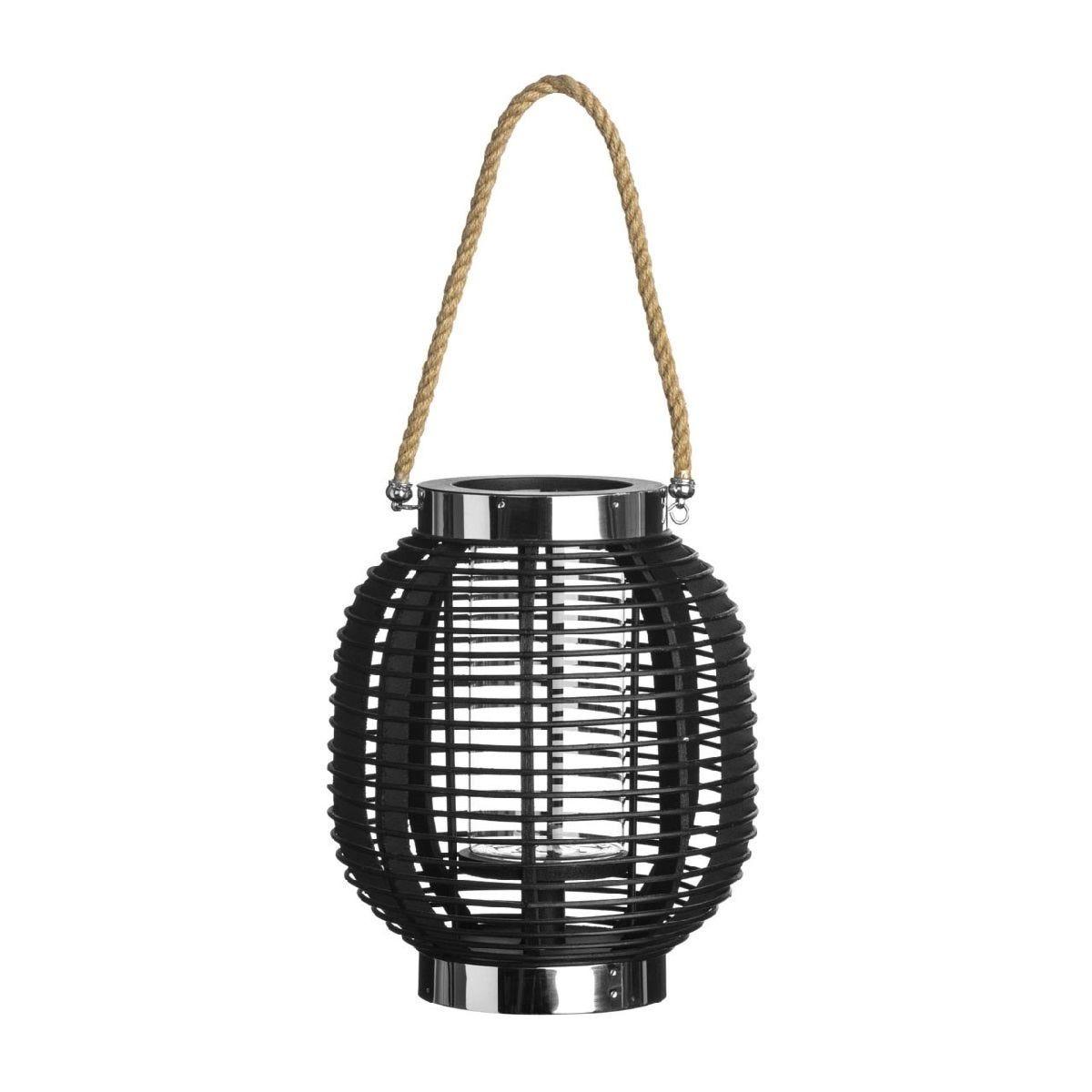 Premier Housewares Large Altar Lantern - Black Wood/Glass/Rope