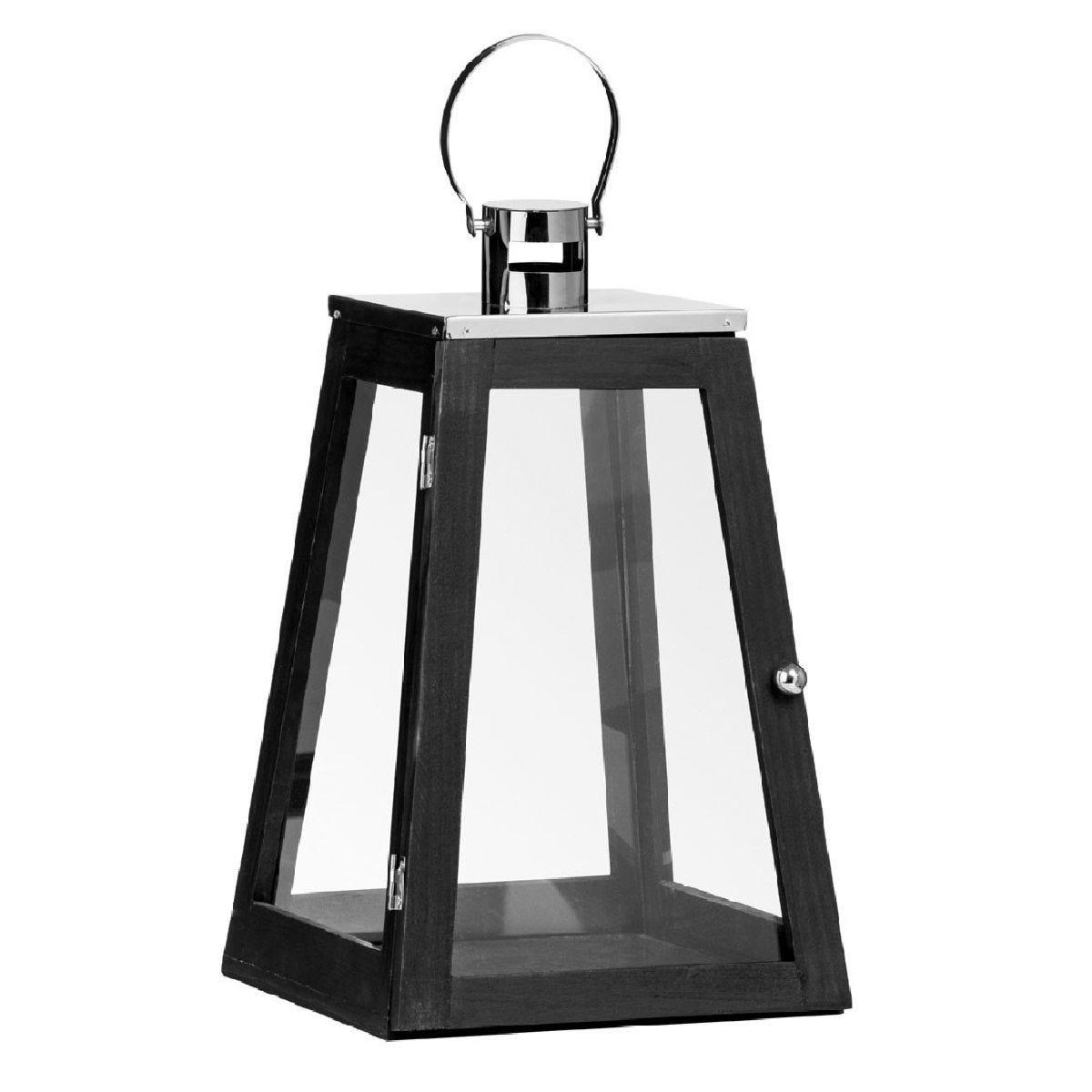 Premier Housewares Regents Park Pyramid Lantern - Black Wood/Metal