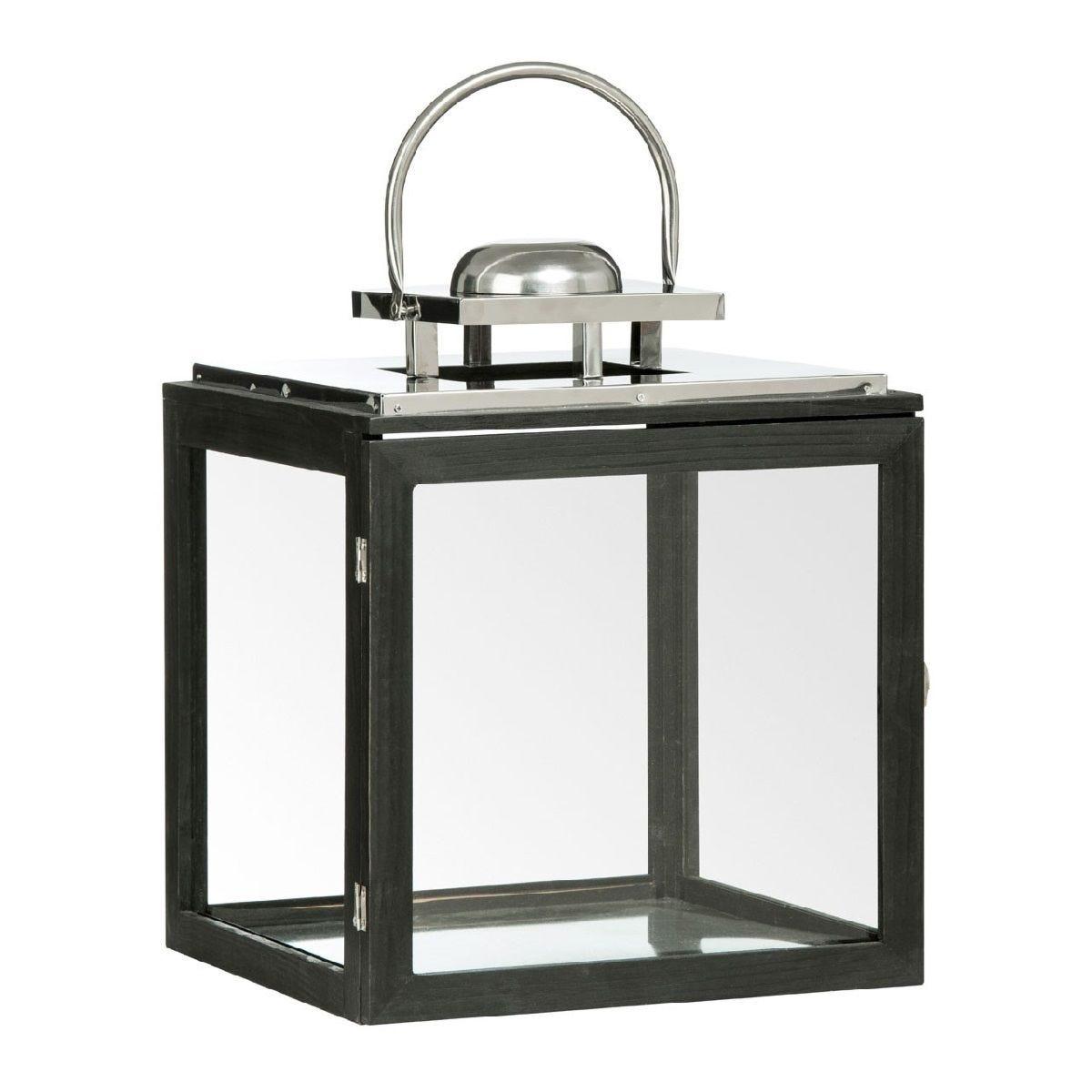 Premier Housewares Regents Park Large Lantern - Black Wood/Stainless Steel