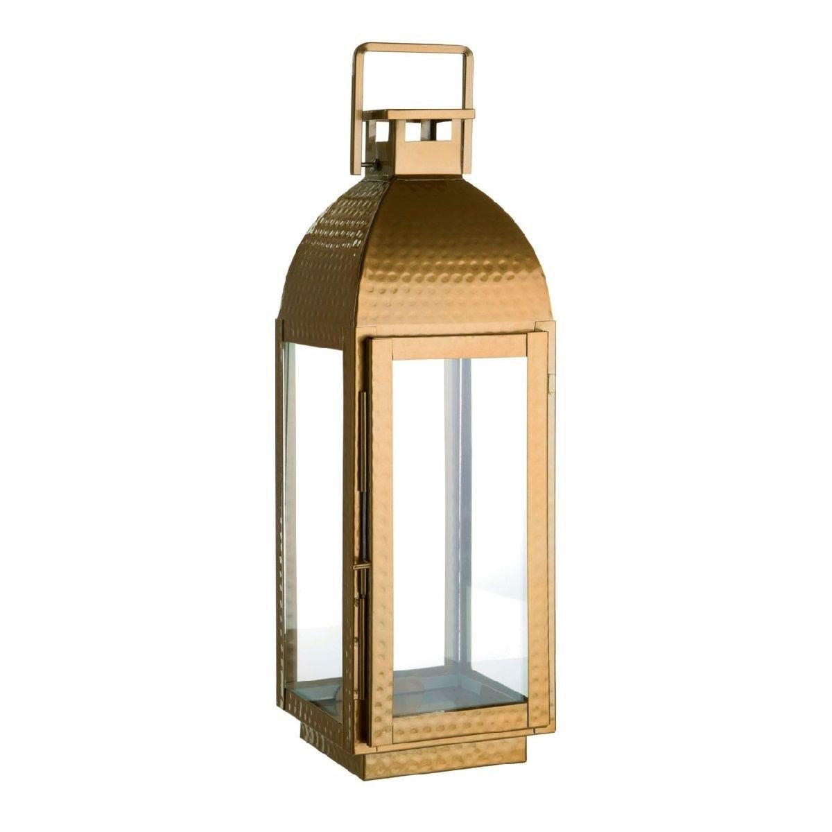 Premier Housewares Ravi Small Lantern in Stainless Steel/Glass - Brass Finish