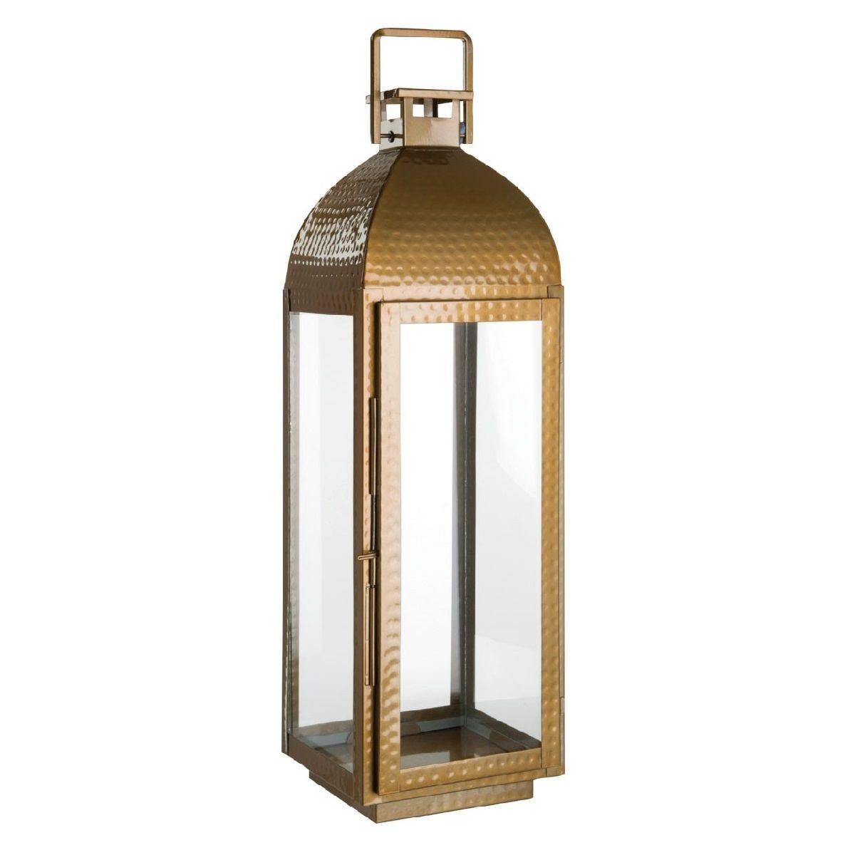 Premier Housewares Ravi Large Lantern in Stainless Steel/Glass - Brass Finish