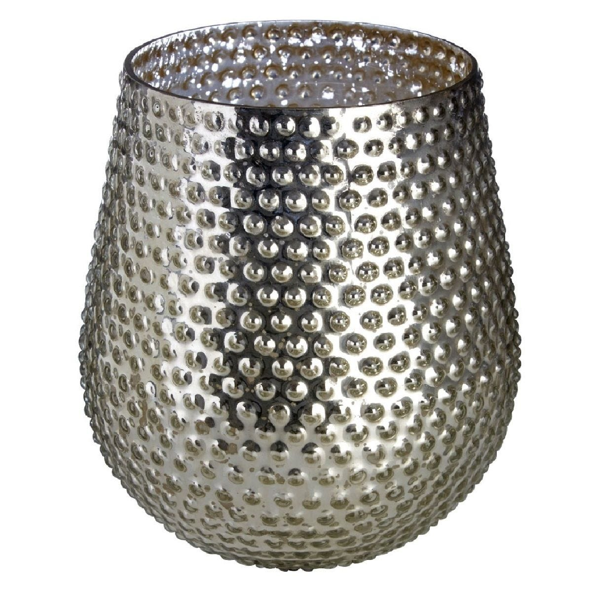 Premier Housewares Complements Large Glass Candle Holder - Silver Finish