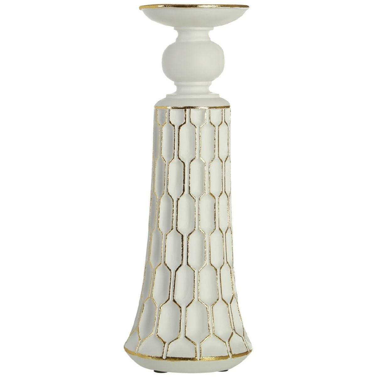 Premier Housewares Honeycomb Large Candle Holder - White/Gold Polyresin