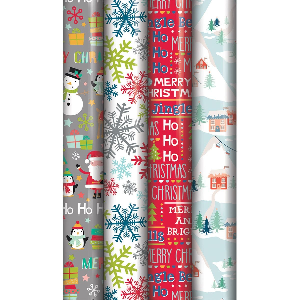 North Pole 5M Contemporary Gift Wrap - Red & Gold