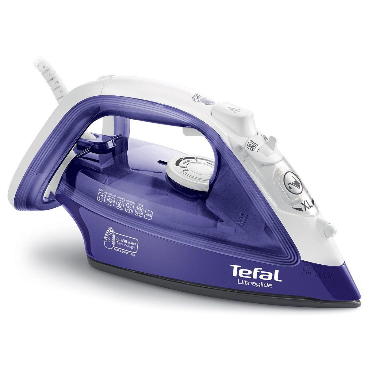 Tefal Ultraglide Steam Iron - White & Purple