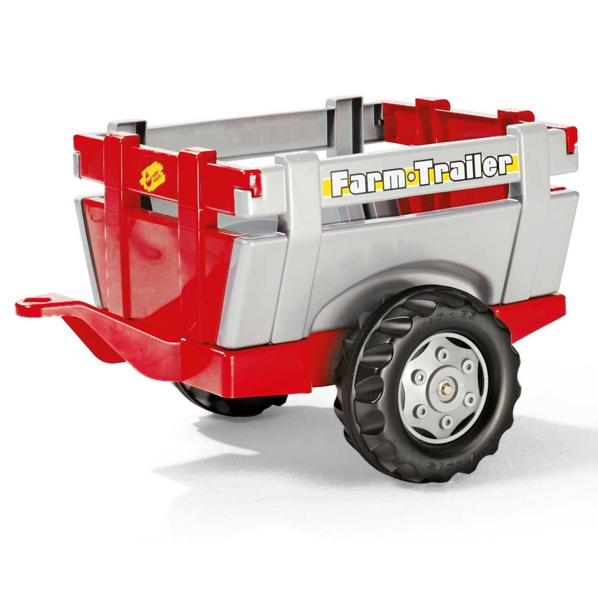 Rolly Farm Trailer for Kid's Ride-On Tractors - Red/Silver