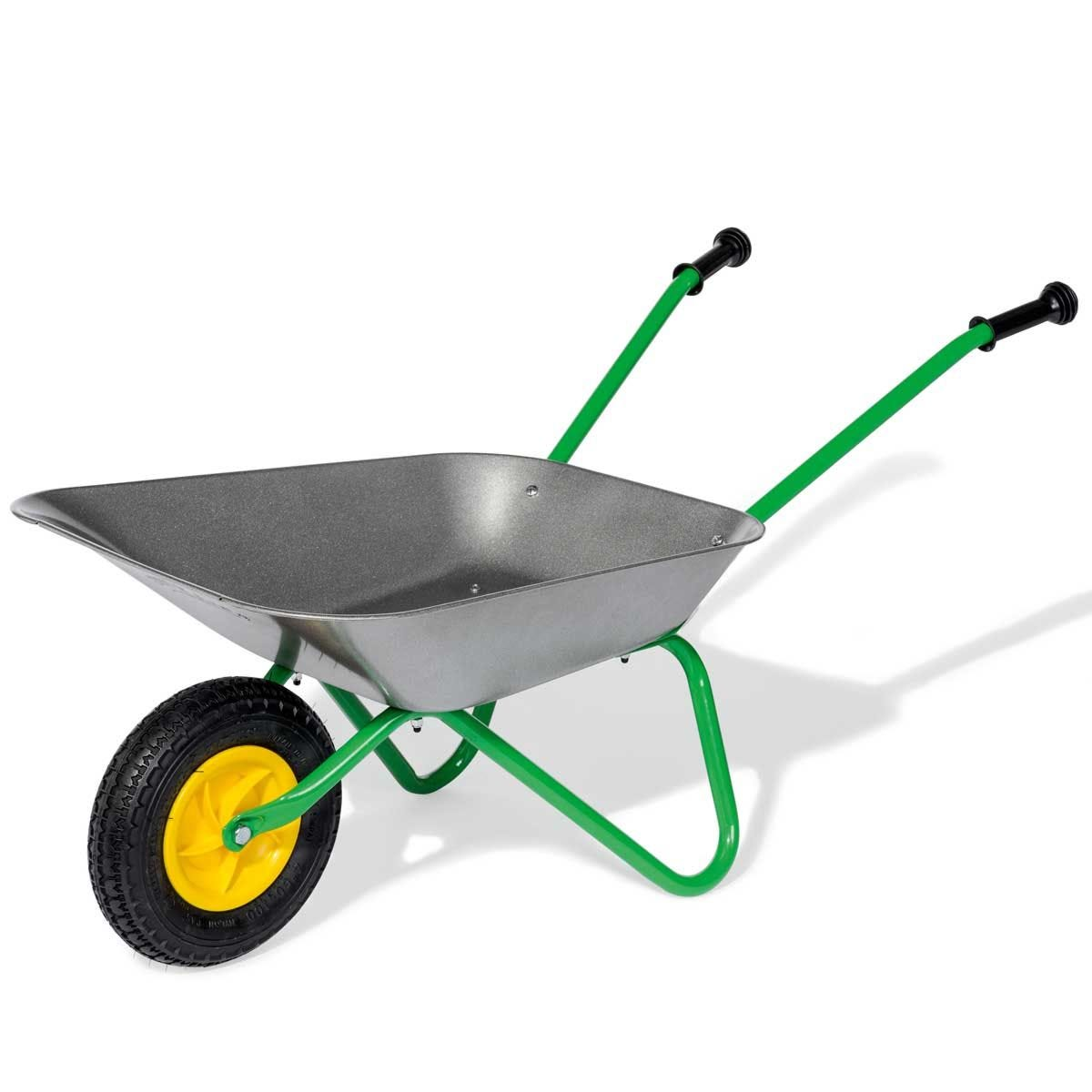 Kid's Wheelbarrow with Front Pneumatic Tyre - Silver/Green