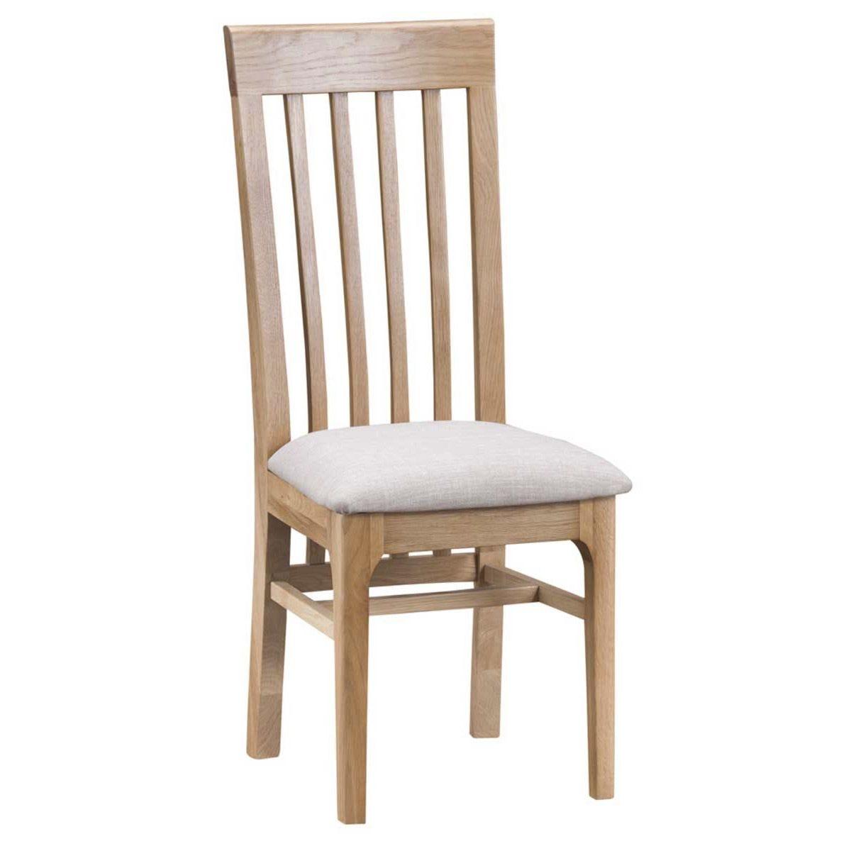 Cranbrook Natural Oak Slat Back Chair with Fabric Seat