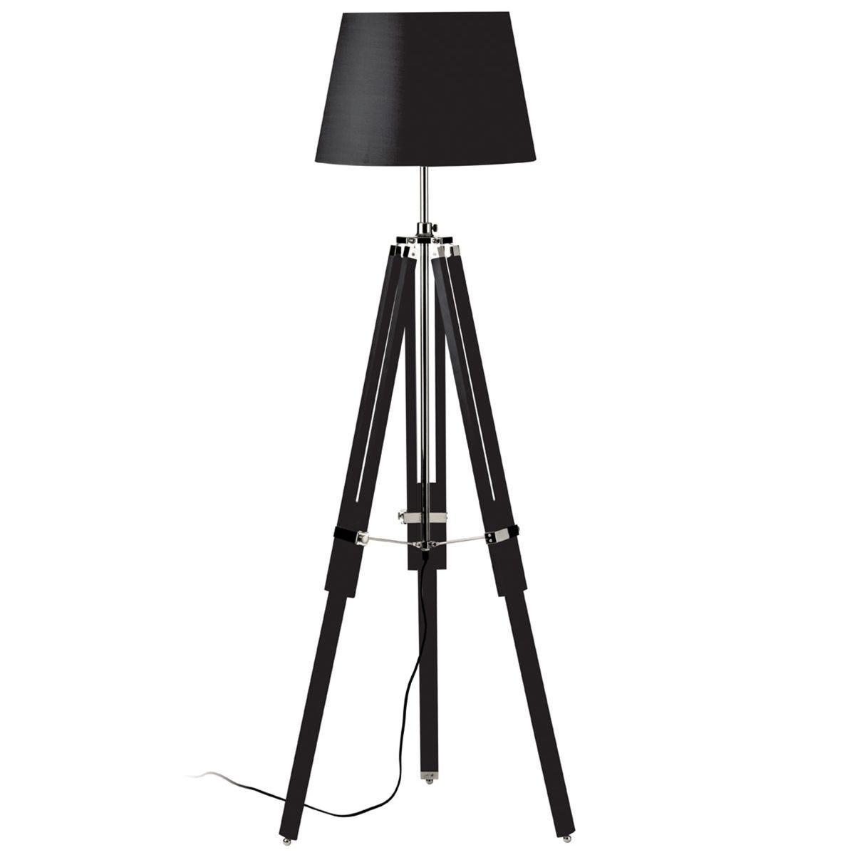Premier Housewares Jasper Floor Lamp with Tripod Base - Black